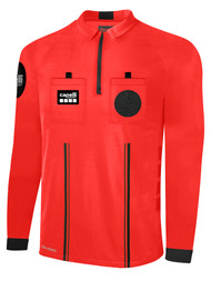 OFFICIAL  REFEREE  LONG SLEEVE JERSEY WITH ZIPPER REFEREE RED BLACK - CSRP