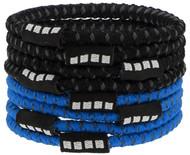 CSA  8 PACK NO SLIP ELASTIC PONY HOLDERS PROMO BLUE BLACK