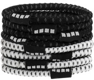CSA 8  PACK NO SLIP ELASTIC PONY HOLDERS BLACK WHITE