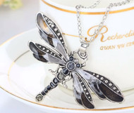 Necklace, Dragonfly Black Grey