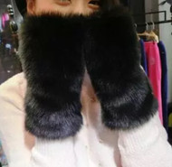 Gloves, Fingerless Faux Fur Lined Black