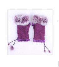 Gloves, Fingerless Purple Faux Fur