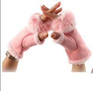 Gloves, Fingerless Pink Fur