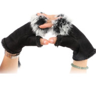 Gloves, Fingerless Black Fur