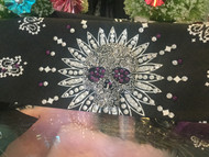 Bandana, Skull Sugar Metal Centerpiece Black & Purple FREE SHIPPING