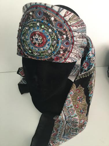 Scarf, black feather-like pattern surrounded by Swarovski & Austrian crystals to dazzle this BoHo scarf!  Go Brazen does the best bling bling ever.