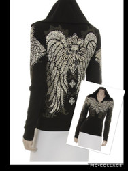 Jacket, Hoodie Angel Wing Fleur'  Rhinestones Small & Medium Left