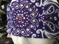 Bandana, Swirl Purple with AB Purple Rhinestones FREE SHIPPING