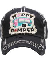 Cap, Baseball Happy Camper Black, Backside Embroidery