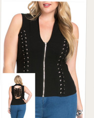 Top, Criss Cross Lattice Back Lace up the Side Small LEFT &3x Black