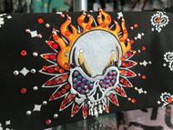 Bandana, Skull Flames Orange Bling, More Colors Avail FREE SHIPPING