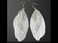 Earrings, Angel Wing Feather