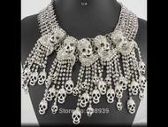 Necklace, Skulls Bib Choker Clear Rhinestones