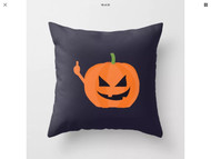 Pillow Cover, Halloween Pumpkin Middle  Finger