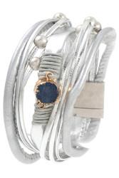 Bracelet, Multi Row Druzy Stone Silvertone