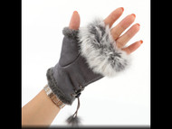 Gloves, Fingerless Grey Fur