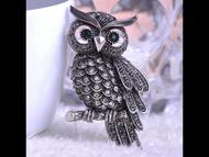 Pin, Owl Grey Rhinestone