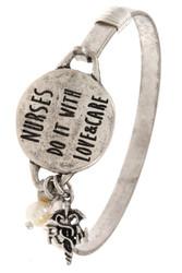 Bracelet, Nurses Do It With Love & Care Silvertone