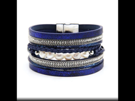 Bracelet, Pearl Metallic Blue Magnetic Closure