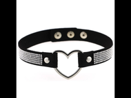 Necklace, Choker Heart Black Rhinestone Up to15""