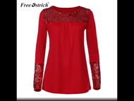 Top, Sequin Jersey  Red Medium to Curvy