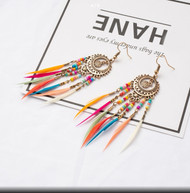 Earrings, Dangle Feather Multi Color Goldtone BoHo