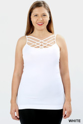 Cami,  Tank Criss Cross, Small - 3x White