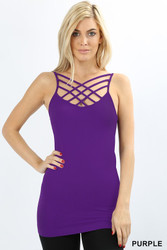 Cami, Tank Criss Cross, Small - 3x Purple