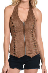 Top, Halter Criss Cross Suede-like Brown, Small -Xl