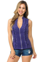 Top, Criss Cross Suede-Like, Small-XL Purple