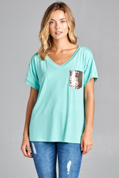 Top, Sequin Pocket USA Made Mint, Small - Large