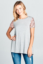 Top, Sequin Heather Grey Made in USA, Small - Large