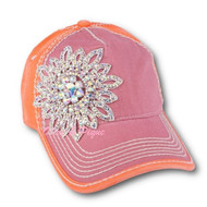 Cap, Baseball Two-Tone Lilac Orange Glass Crystal