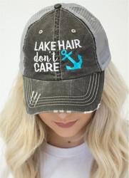 Cap, Baseball Lake Hair Don't Care Blue Anchor