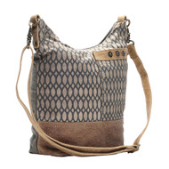Purse, Honeycomb Pattern Up-Cycled Canvas Leather Handle Myra