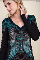 Top, Cross Angel Wing Black Turquoise Small to Xl