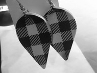 Earrings, Buffalo Plaid White Black