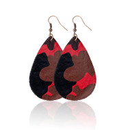 Earrings, Camo Red Black