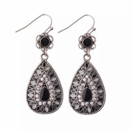 Earrings, Drop Black Bling