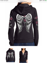 Jacket,  Hoodie Angel Wings Zip Small-3x Made in USA