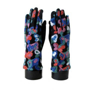 Gloves, Artsy Embroidered Design Floral Swirl Brights