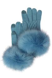 Gloves, CC Brand Fur band Denim Blue