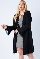Cardigan, Bell Button Lace Sleeves Plus Size Black Jacket