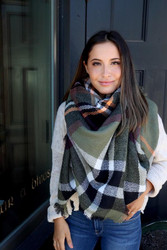 Scarf, Blanket Green Plaid