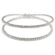 Bracelet, Rhinestone 2-Strand Silver