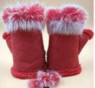 Gloves, Fingerless Red Rabbit Fur