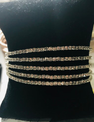 Bracelet, Crystal 5-Strand Cuff Silver
