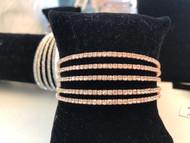 Bracelet, Crystal 5-Strand Rose Gold Cuff