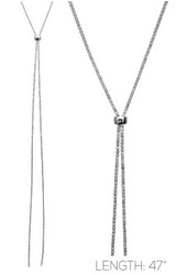 """Necklace, Lariat Silver 47"""""""