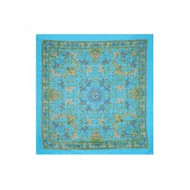 "Scarf, 39x40"" Cotton Turquoise Elephant FREE SHIPPING"